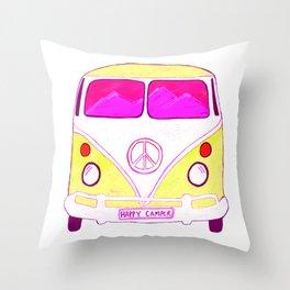 Happy Camper Vintage Van pink & gold Throw Pillow