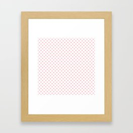 Large Millennial Pink Pastel Love Hearts On White Framed Art Print