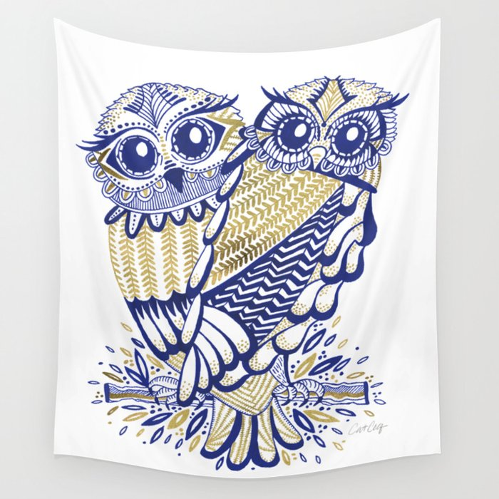 Owls – Navy & Gold Wall Tapestry