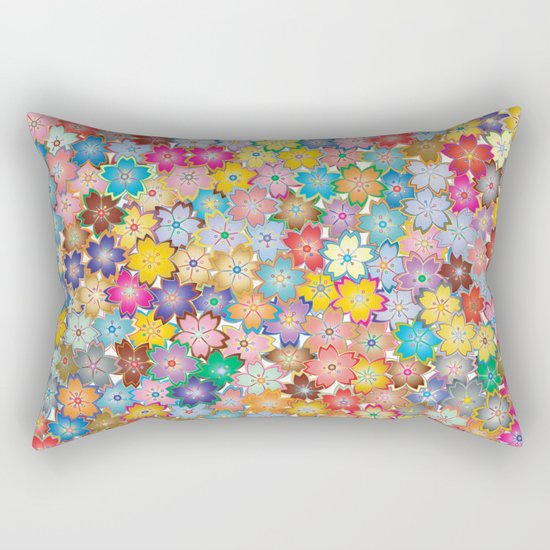 Cherry Blossom Flowers Rectangular Pillow