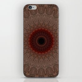 Brown mandala with red sun iPhone Skin