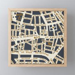 PARIS MAP GREY GOLD Framed Mini Art Print