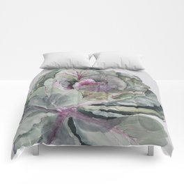 Ornamental waterolour cabbage Comforters