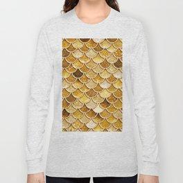 Gold Trendy Glitter Mermaid Scales Long Sleeve T-shirt