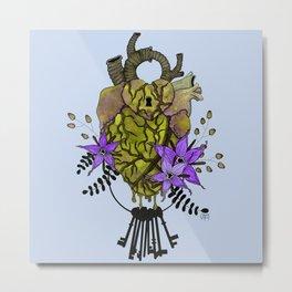 Key To My Heart - Yellow Metal Print
