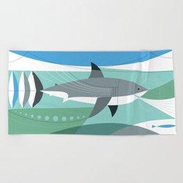 Keep Moving Forward (great White Shark) Beach Towel