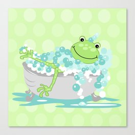 Frog in BathTub Kids Shower Bathroom Art Canvas Print