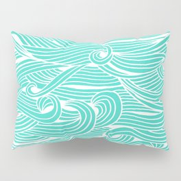 Water Drop – White on Turquoise Pillow Sham