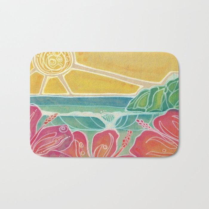 Triple Hibiscus Surf Art by Lauren Tannehill Art Bath Mat