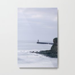 North Pier Lighthouse at dawn. Tynemouth, Northumberland, UK. Metal Print
