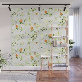 Orange Blossom Pattern Wall Mural