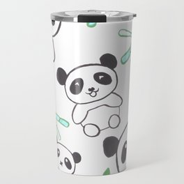 Cute Pandas and bamboos watercolor Travel Mug