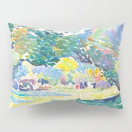 Watercolor Landscape by Henri-Edmond Cross 1904 Neo-Impressionism Pointillism Watercolor Pillow Sham