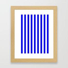 Narrow Vertical Stripes - White and Blue Framed Art Print