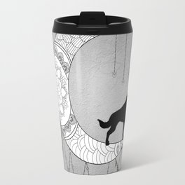 Moon mandala design with wolf Travel Mug