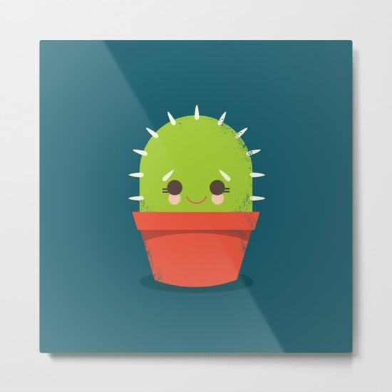 Kawaii Cactus Dude Metal Print