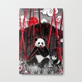 Red Bamboo Panda Metal Print