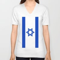 israel V-neck T-shirts featuring Flag of Israel by Neville Hawkins