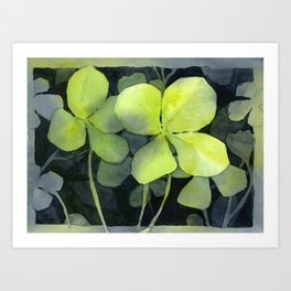 Clover Watercolor Four Leaf Clover Painting Lucky Charm Pattern Art Print