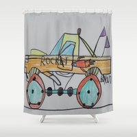 truck Shower Curtains featuring Rocket Truck by Ryan van Gogh
