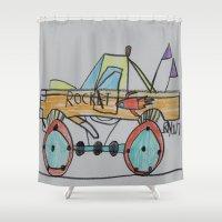 truck Shower Curtains featuring Rocket Truck by Ryan van Gogh