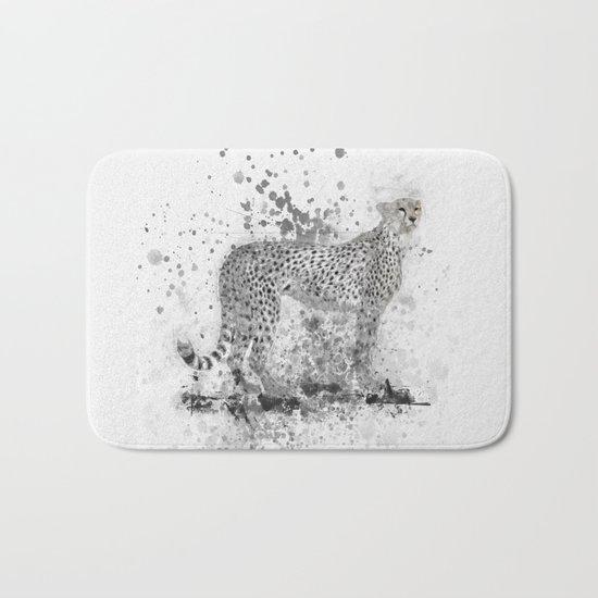 Cheetah in Black and White Bath Mat