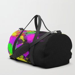 geometric triangle abstract pattern in pink purple yellow green with black background Duffle Bag