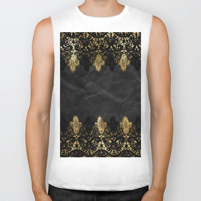 Simply elegance - Gold and black ornamental lace on black paper Biker Tank