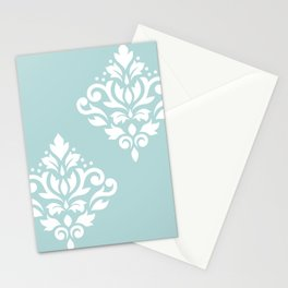 Scoll Damask Art I White on Duck Egg Blue Stationery Cards
