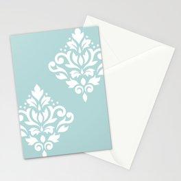 Scoll Damask Art I White on Duck Egg Blue Stationery Cards