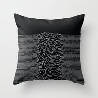 Throw Pillows featuring Unknown Radio Waves - Unknown Pleasures by Alisa Galitsyna