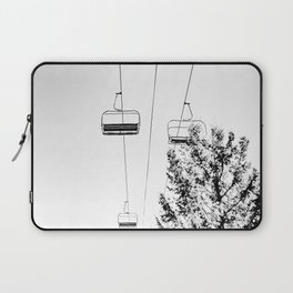 Ski Lift // Black and White Daylight Chairlift Mountain Photograph Laptop Sleeve