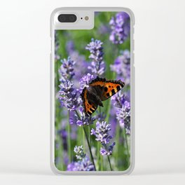 Small tortoiseshell on a lavender plant Clear iPhone Case