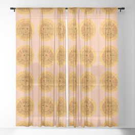 Sun Drawing Gold and Pink Sheer Curtain