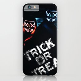 Trick or Treat neon mask clowns scary scene iPhone Case