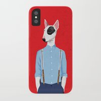 bull terrier iPhone & iPod Cases featuring Skinhead Bull Terrier by Studio Drawgood