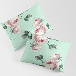 Roses Mint Green + Pink Pillow Sham