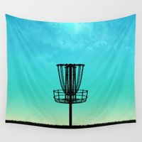 golf Wall Tapestries featuring Disc Golf Basket Silhouette by Phil Perkins