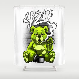 Smoking Teddy Weed Cannabis 420 Stoner Stoned Gift Shower Curtain