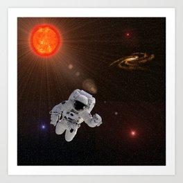 Astronaut Sun Stars Art Print