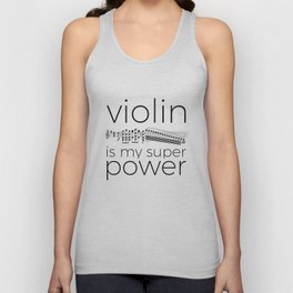 Violin is my super power (white) Unisex Tank Top