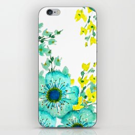 Teal Fantasy Poppies iPhone Skin