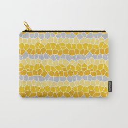 Mosaic Stripes, Mustard Yellow and Gray Carry-All Pouch