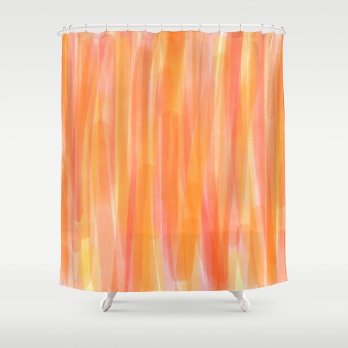 Sunset Red Orange And Yellow Watercolor Shower Curtain