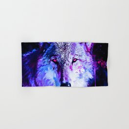 wolf splatter watercolor purple blue Hand & Bath Towel