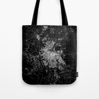 denver Tote Bags featuring Denver map by Line Line Lines