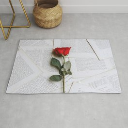 Beautiful Lovely Red Rose On Paper Pages Ultra HD Rug