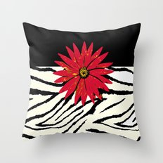 Animal Print Zebra Black and White and Red flower Medallion Throw Pillow