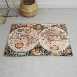 Gorgeous Old World Geographical Map Rug