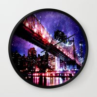 new york Wall Clocks featuring New York New York by Whimsy Romance & Fun